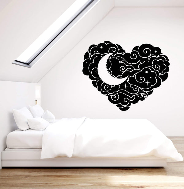 Vinyl Wall Decal Abstract Cloud Heart Star Moon Bedroom Decoration