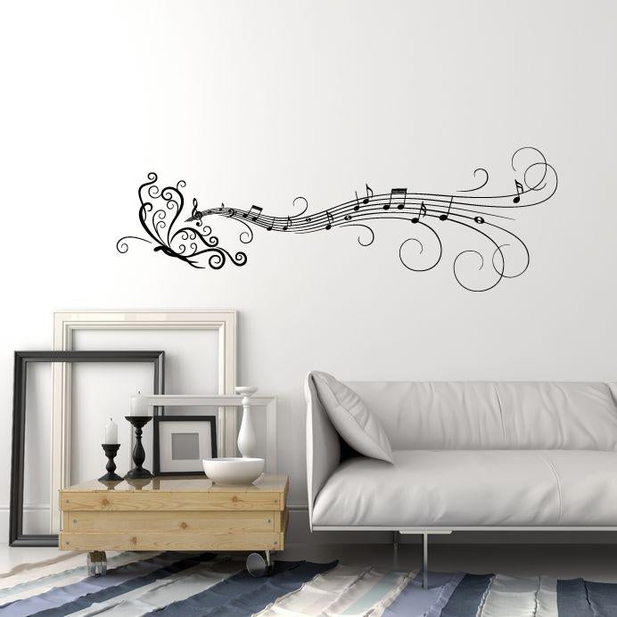 Vinyl Wall Decal Butterfly Pattern Ornament Musical Notes Music