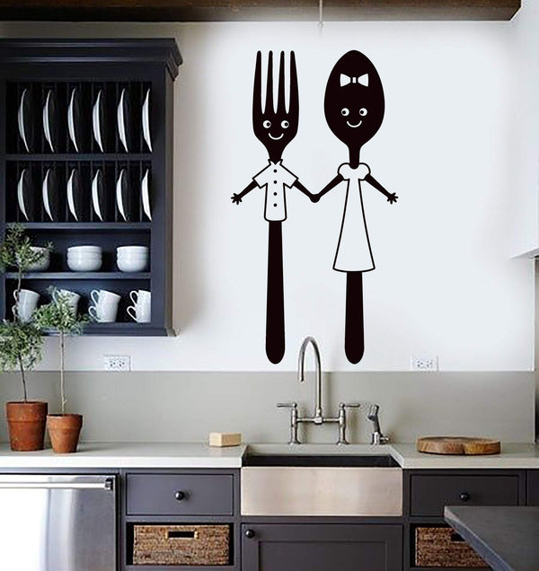 Vinyl Wall Decal Funny Spoon and Fork Kitchen Restaurant Dining Room