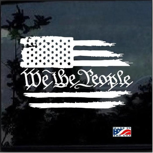 We the People Weathered American Flag Truck Decal Sticker