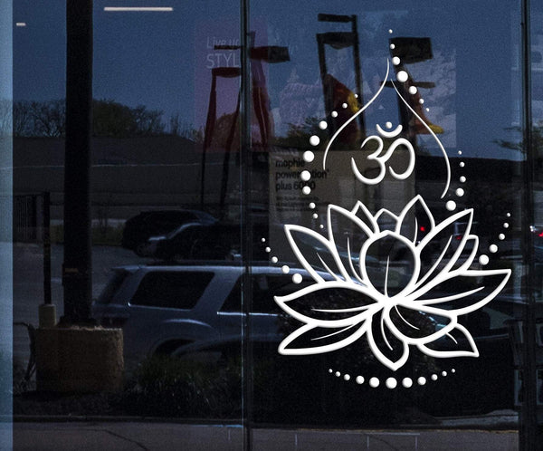 Window Wall Vinyl Decal Lotus Flower Yoga Hinduism Hindu Om Symbol