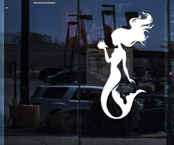 Window Vinyl Wall Decal Silhouette Beautiful Mermaid Shell Stickers
