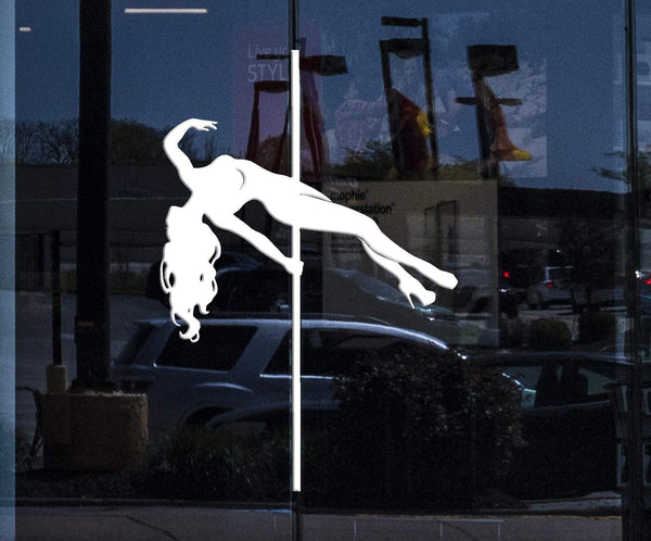 Window Vinyl Wall Decal Striptease Club Stripper Naked Girl Strip