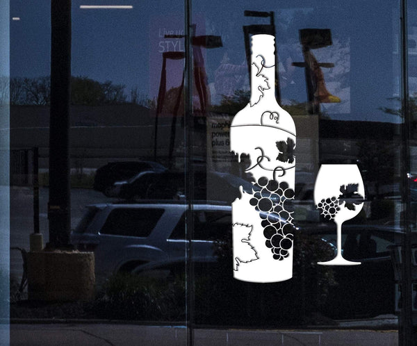 Window Vinyl Wall Decal Wine Bottle Glass Grapes Bar Alcohol