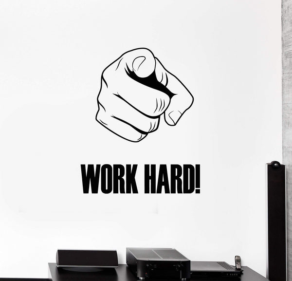 Work Hard Vinyl Wall Decal Hand Motivational Phrase Office Space Decor