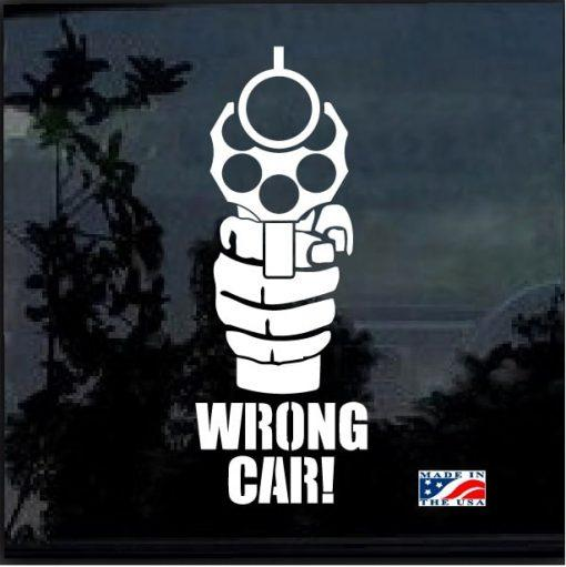Wrong Car Gun Pistol Window Decal Sticker