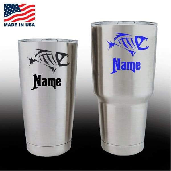 Yeti Decals – Cup Stickers – Bone Fish with Name