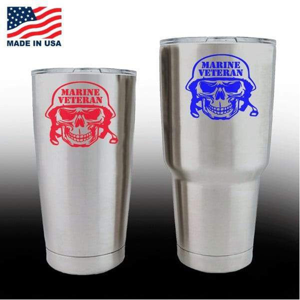 Yeti Decals – Cup Stickers – Marine Veteran Skull