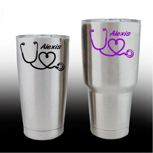 Yeti Decals – Cup Stickers – Nurse Heart Stethoscope with name
