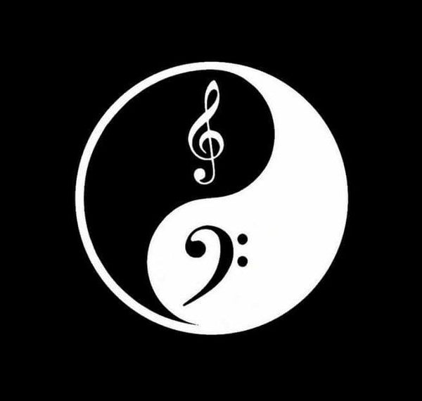 Ying Yang Treble Clef Music Window Decal Sticker