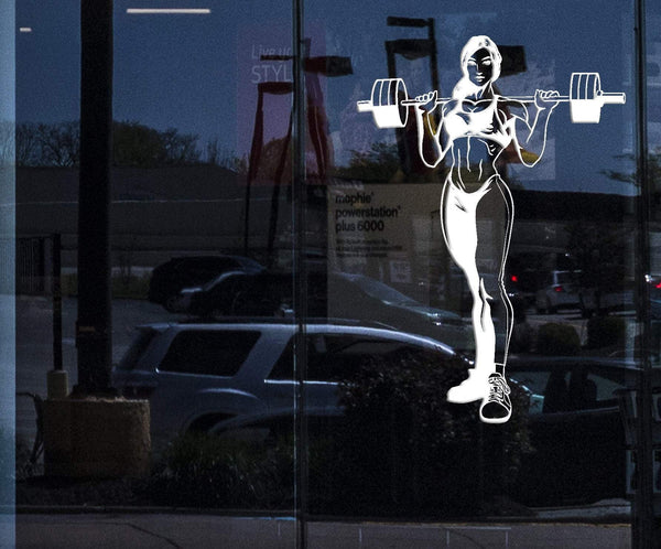 Window Wall Vinyl Decal Sports Girl Pumped-up Figure Fitness Decor