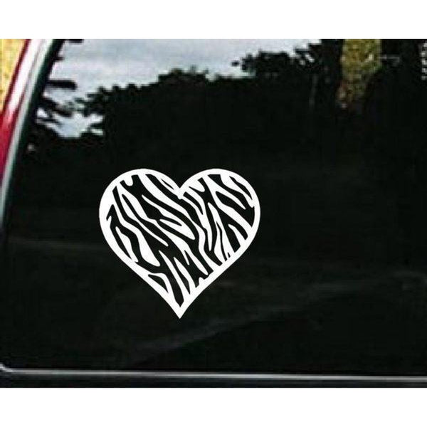 Zebra Heart Window Decal Sticker