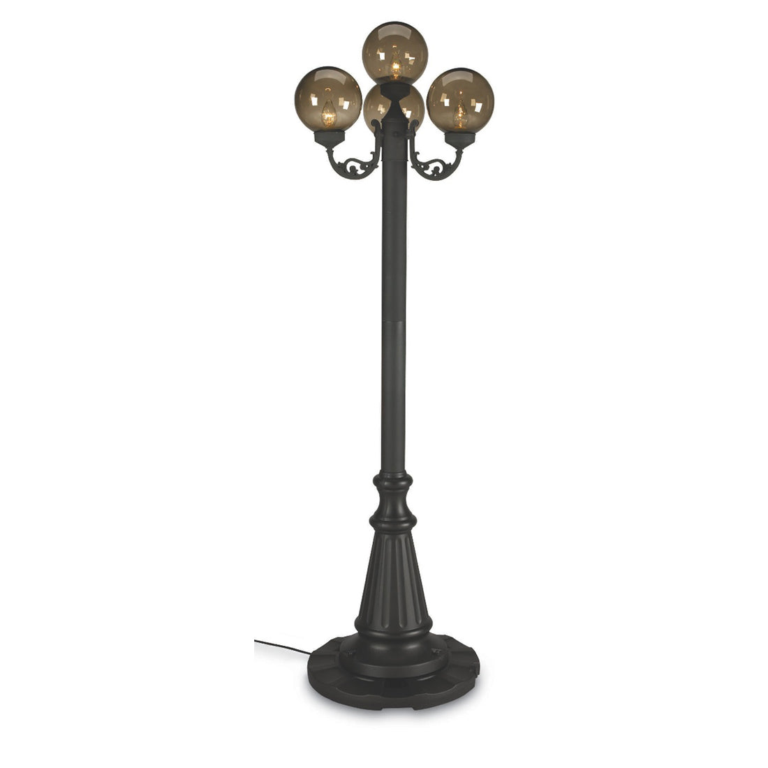 European 00470 Four Bronze Globe Lantern Patio Lamp - Park Style