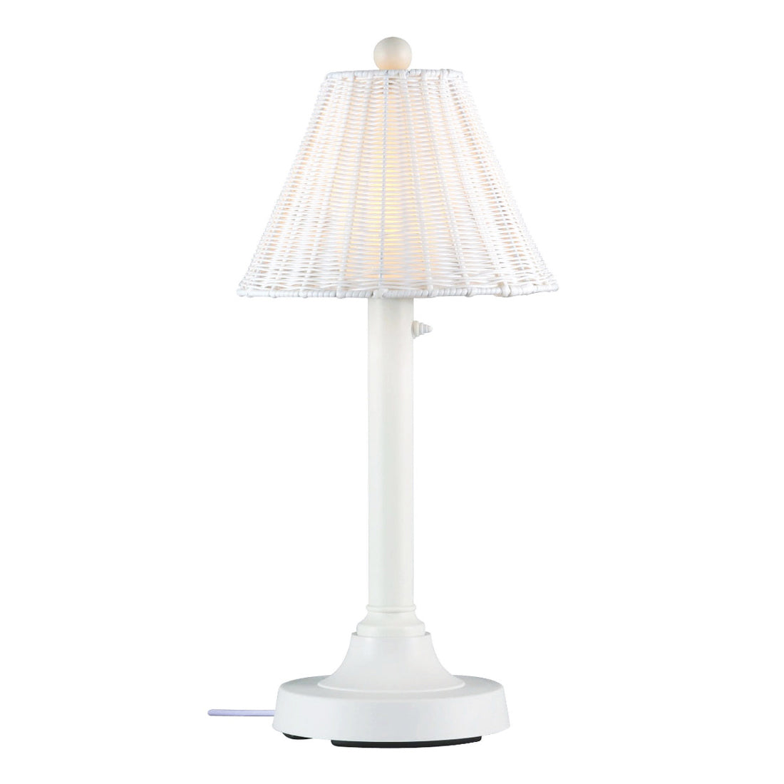 "Shangri-La 30"" Table Lamp 10221 with 2"" white tube body and tight weave, round wicker, white shade"