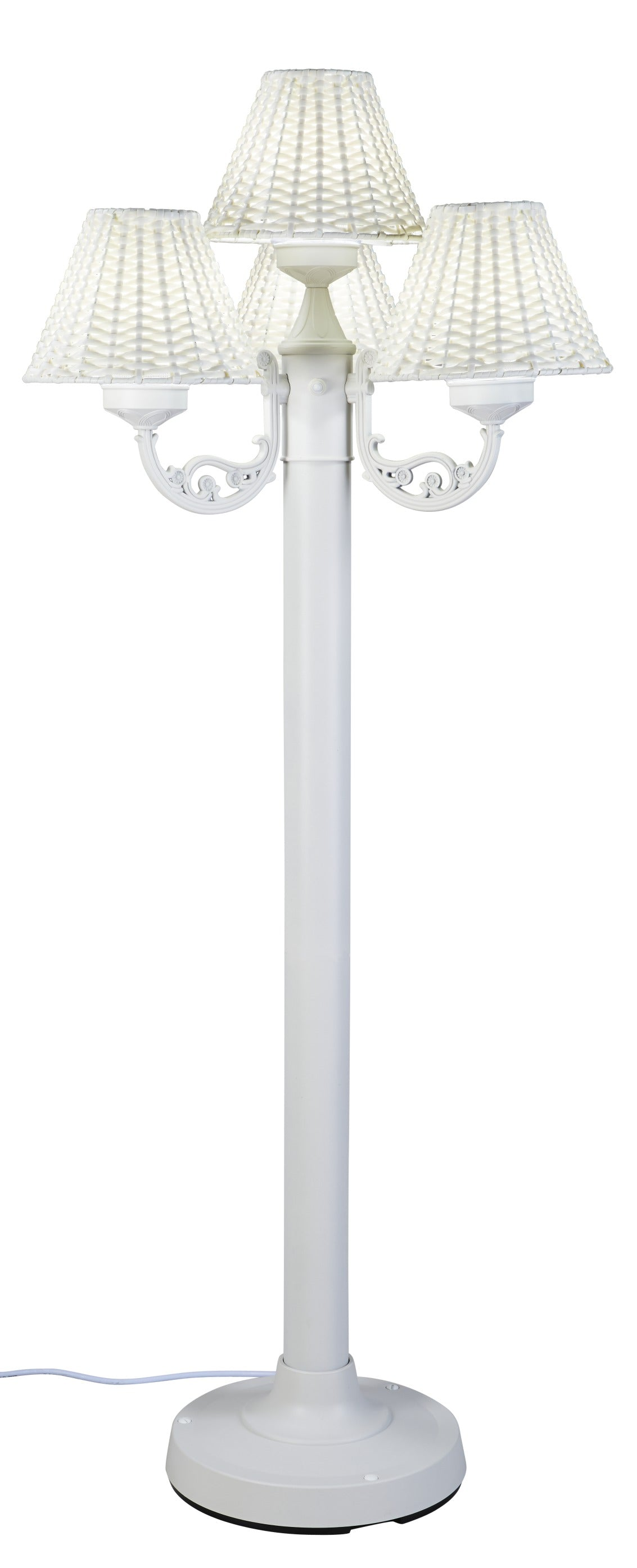 Versailles Floor Lamp 10451 with White Body and White Wicker Shades