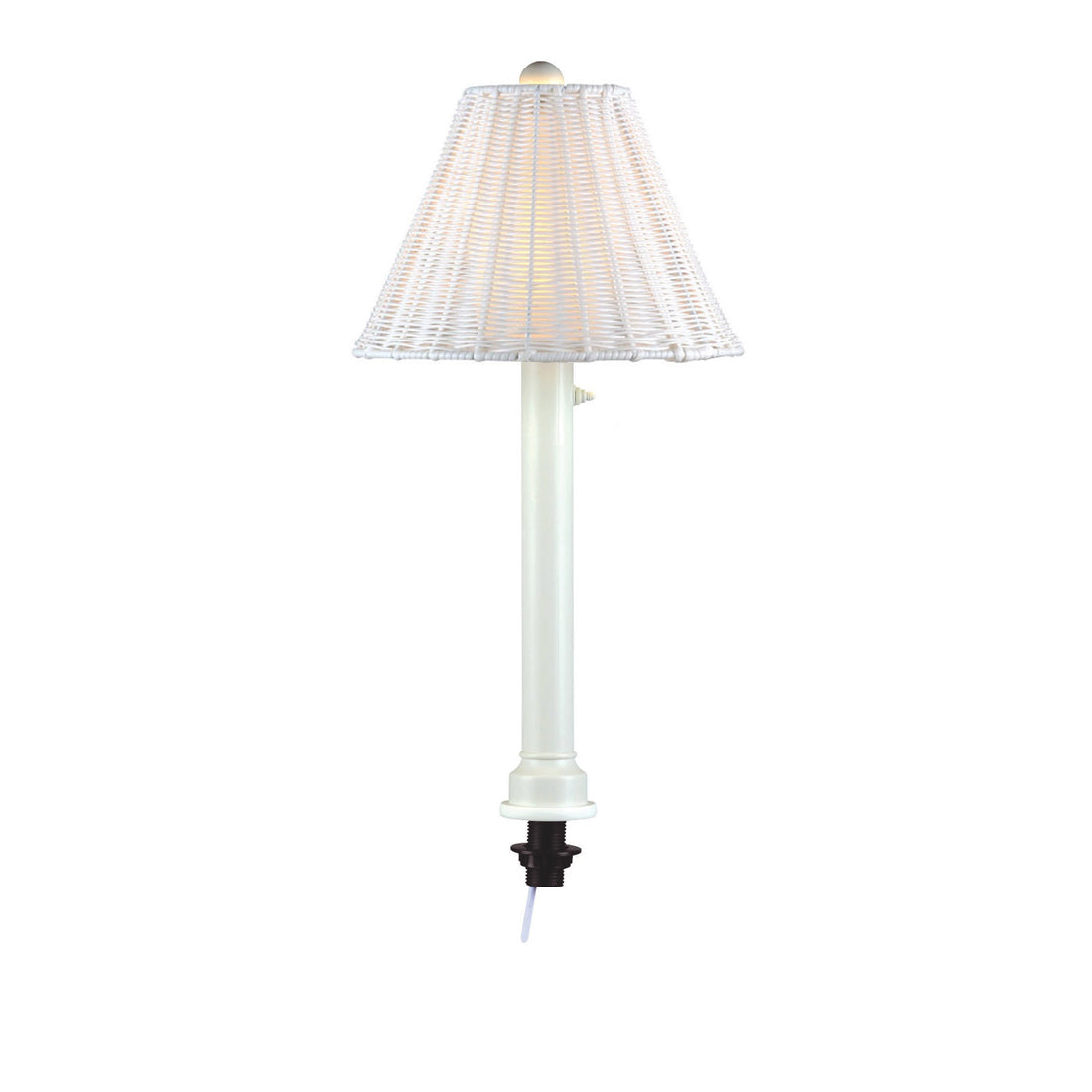 "Umbrella Table Lamp 10771 with 2"" white tube body and white all-weather wicker shade"