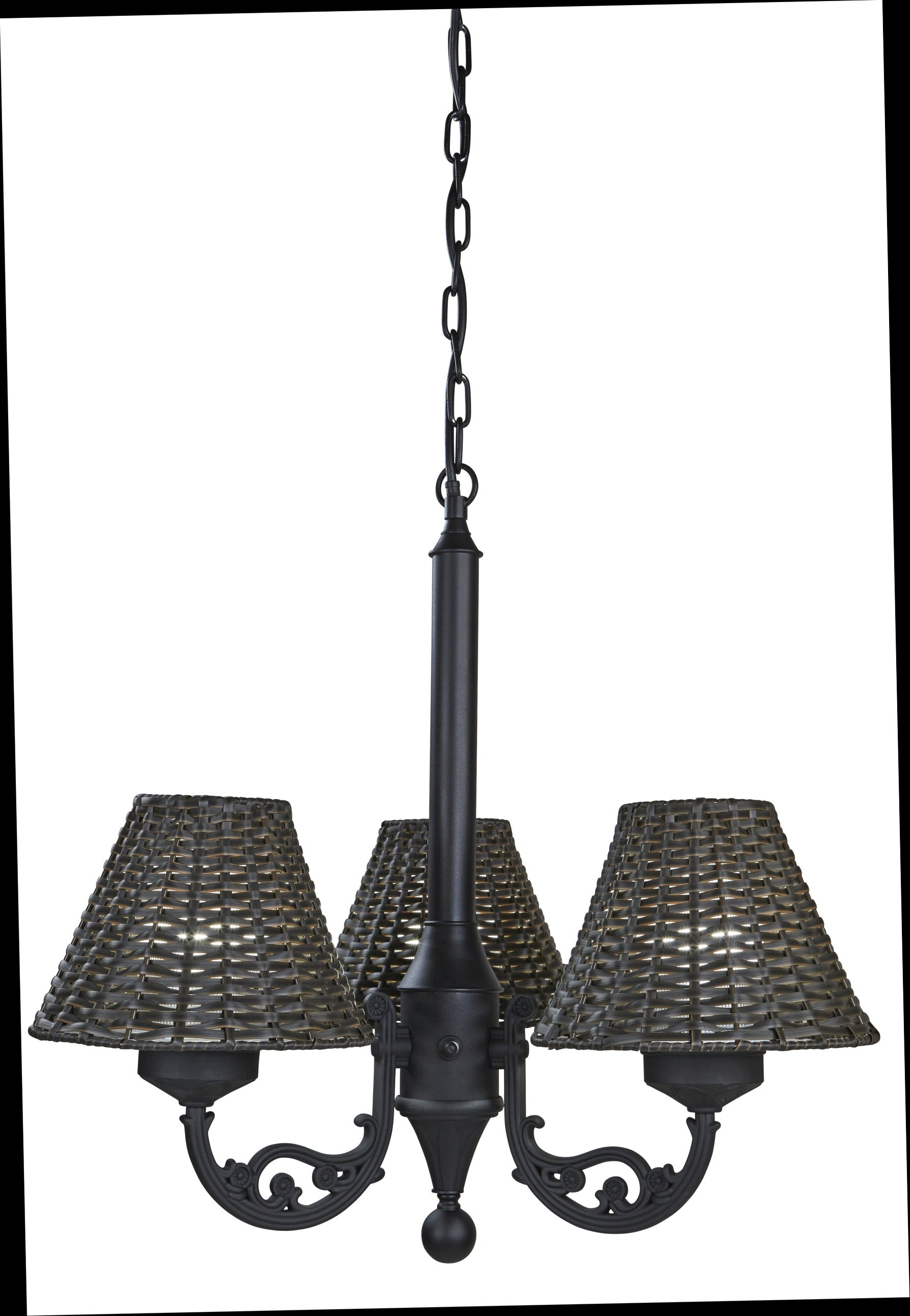 Versailles Chandelier 17750 with Black Body and Walnut Wicker Shades