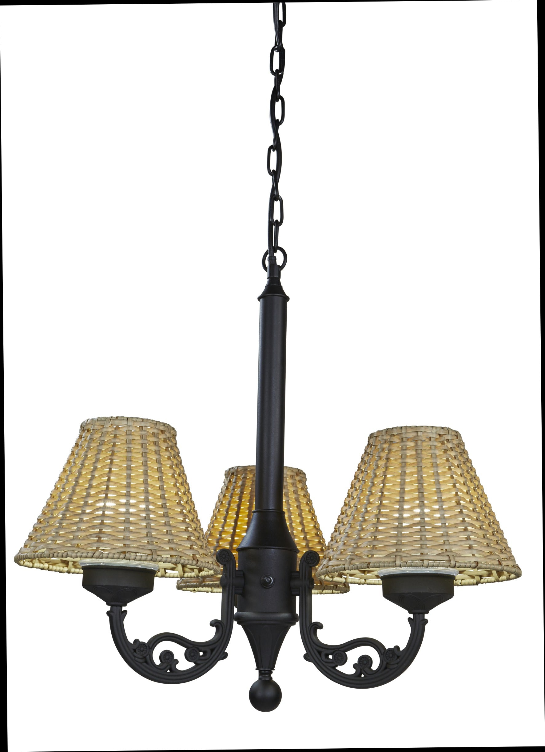 Versailles Chandelier 19750 with Black Body and Stone Wicker Shades