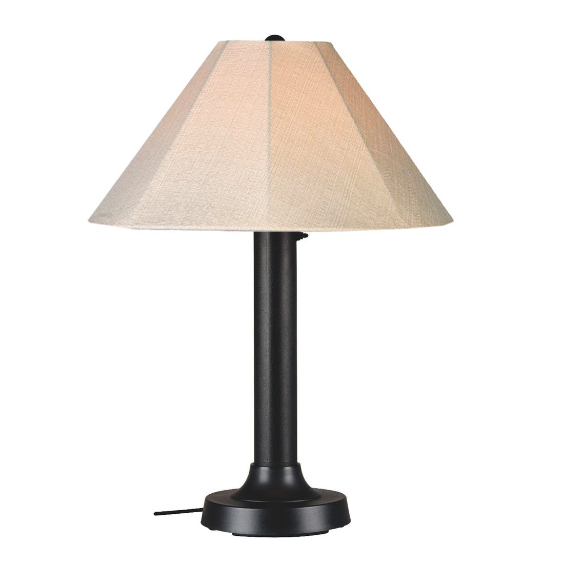 "Seaside Table Lamp 20610 with 3"" black body and antique beige linen Sunbrella shade fabric"