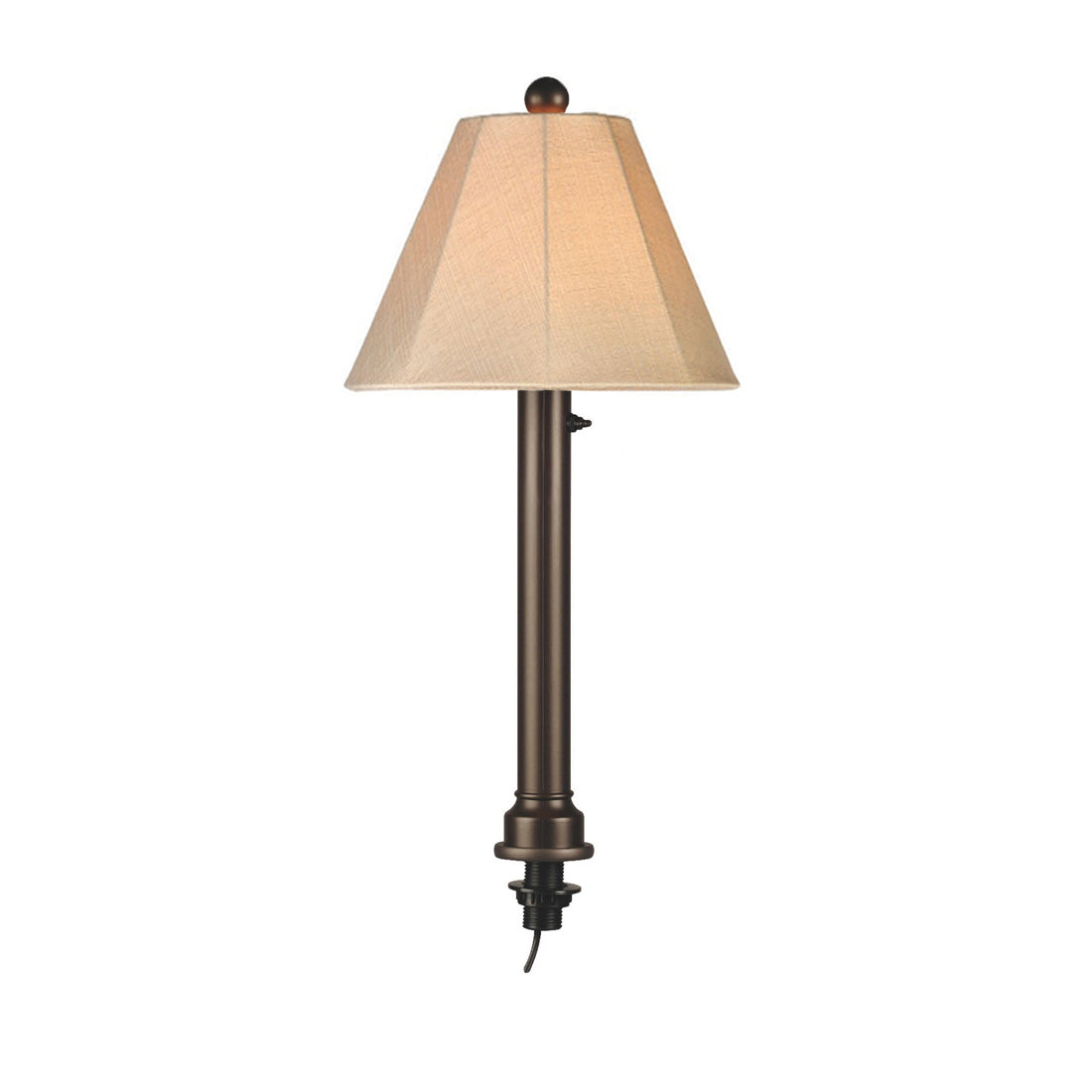 "Umbrella Table Lamp 20777 with 2"" bronze tube body and antique beige linen Sunbrella shade fabric"