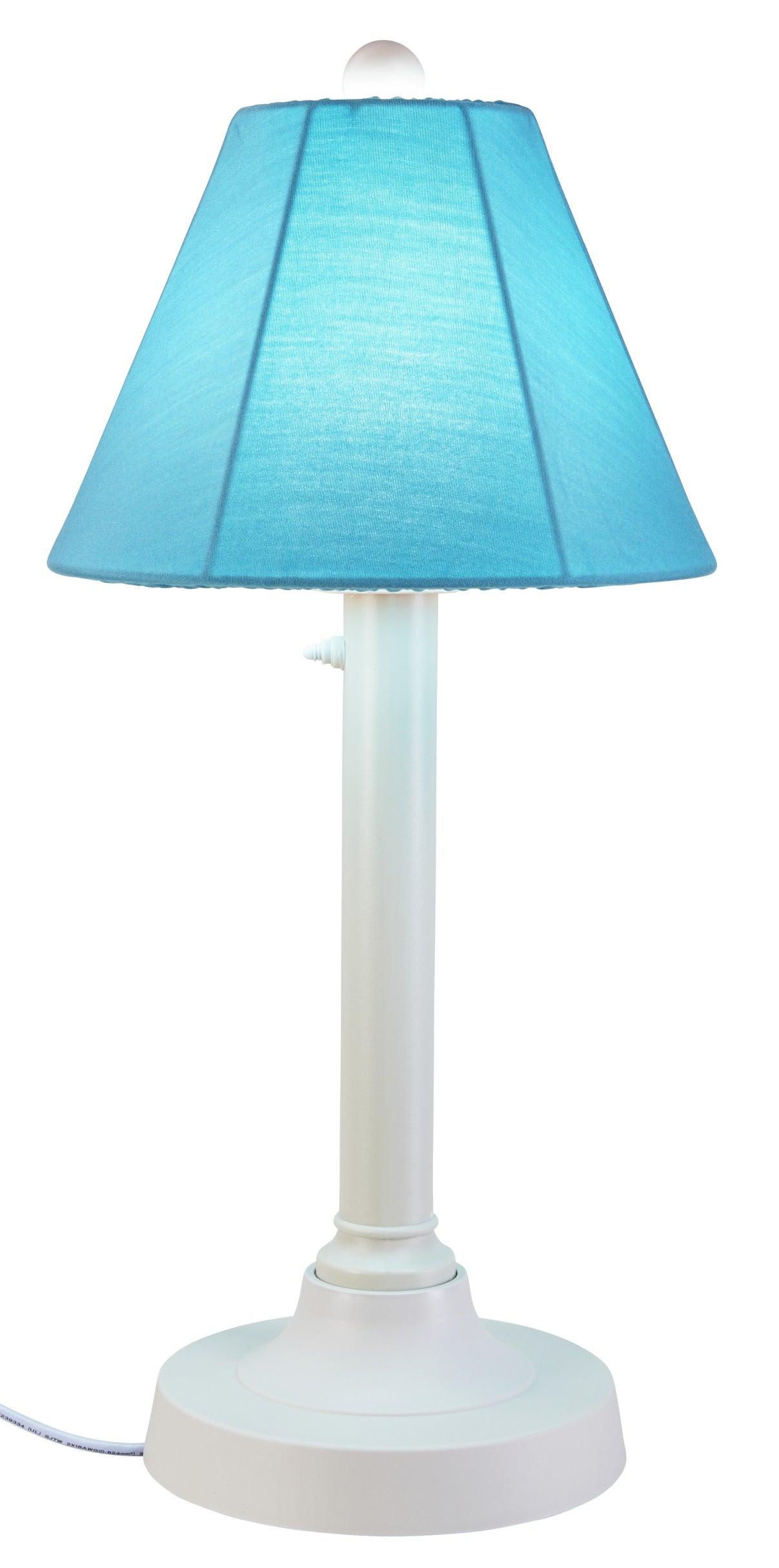 "San Juan 30"" Table Lamp 38121 with 2"" white body and canvas Aruba Sunbrella shade fabric"