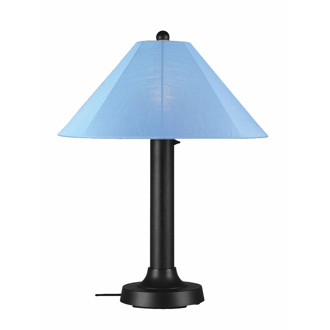 "Catalina Table Lamp 39640 with 3"" black body and sky blue Sunbrella shade fabric"