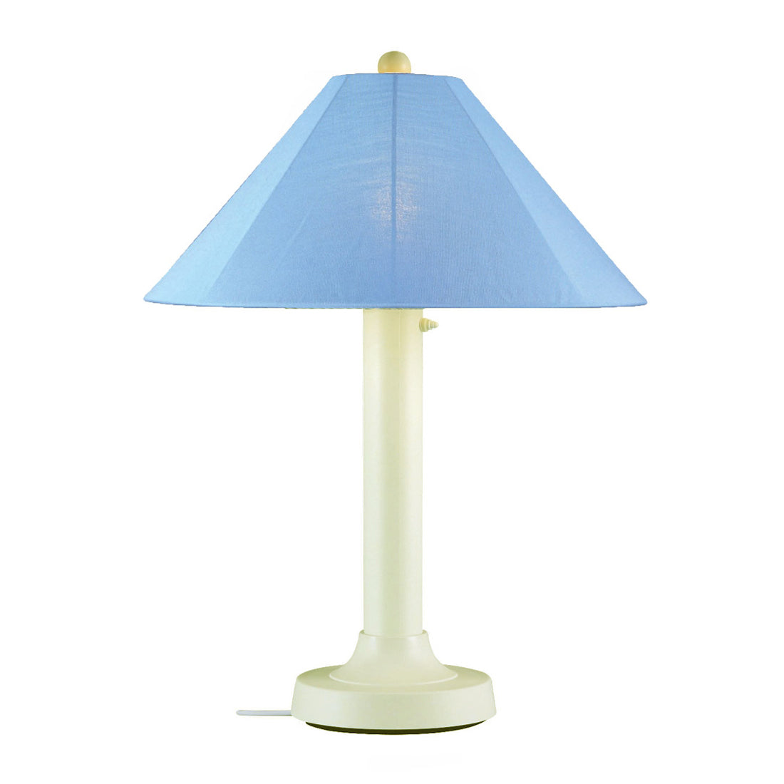 "Catalina Table Lamp 39644 with 3"" bisque body and sky blue Sunbrella shade fabric"