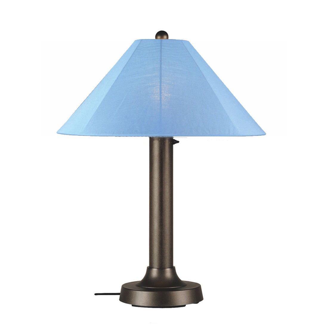 "Catalina Table Lamp 39647 with 3"" bronze body and sky blue Sunbrella shade fabric"