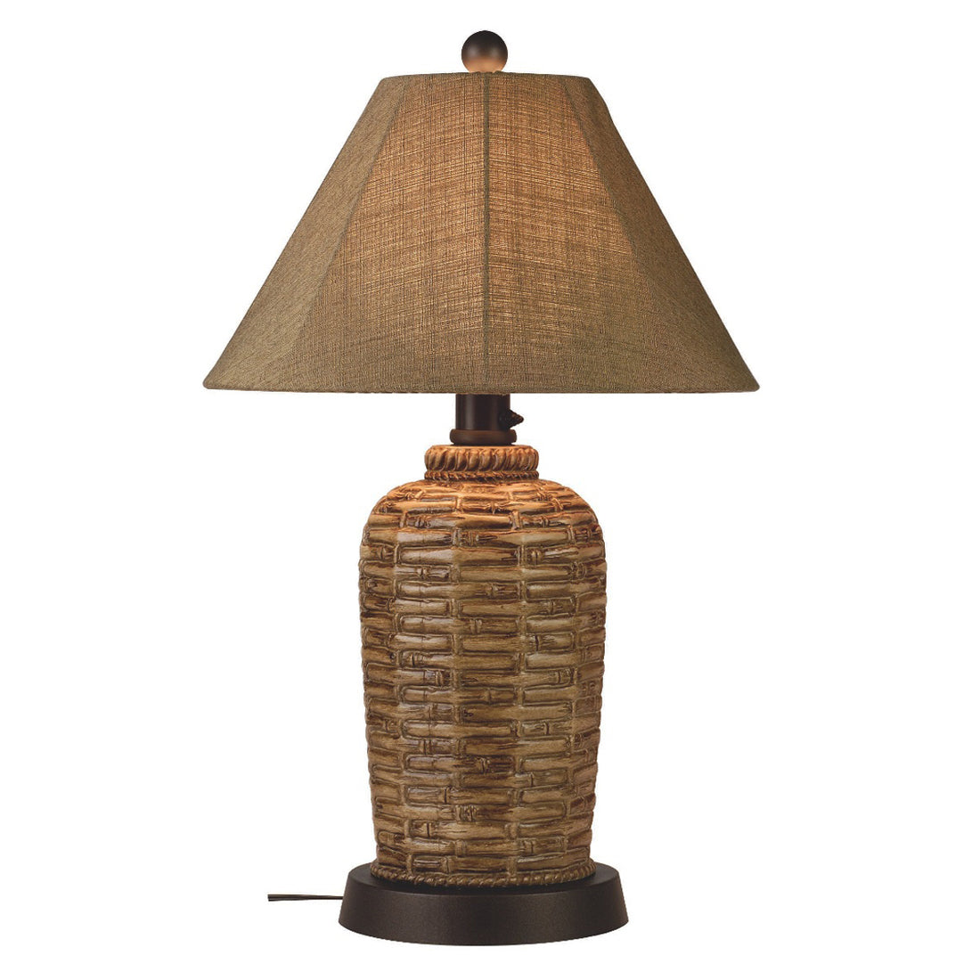 South Pacific Outdoor Table Lamp 45933 with Sesame Sunbrella Shade