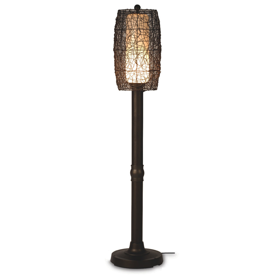 "Bristol 70"" Floor Lamp 68267 with 3"" bronze tube body and random weave walnut wicker barrel shade"