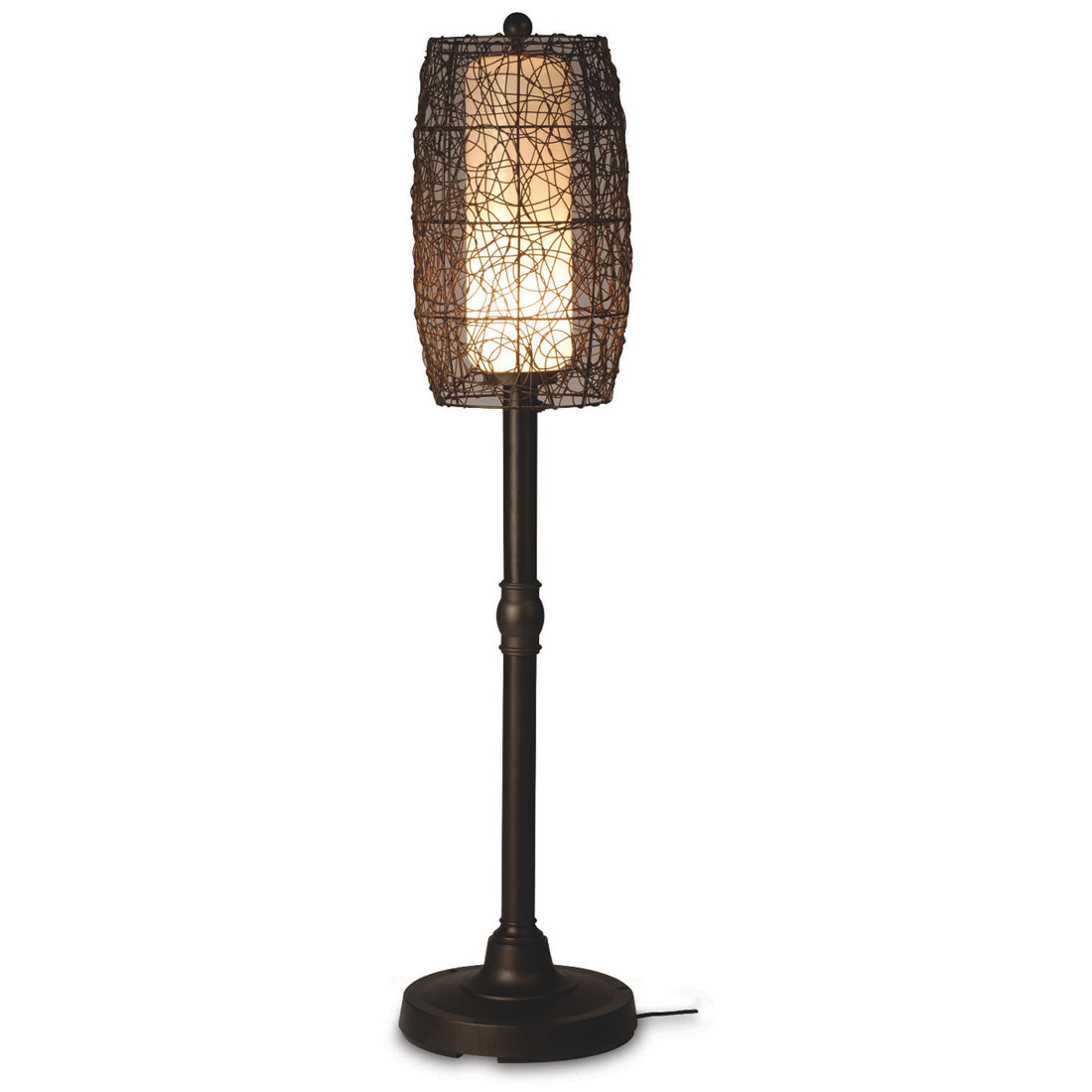 "Bristol 30"" Table Lamp 68287 with 2"" bronze tube body and random weave walnut wicker barrel shade"