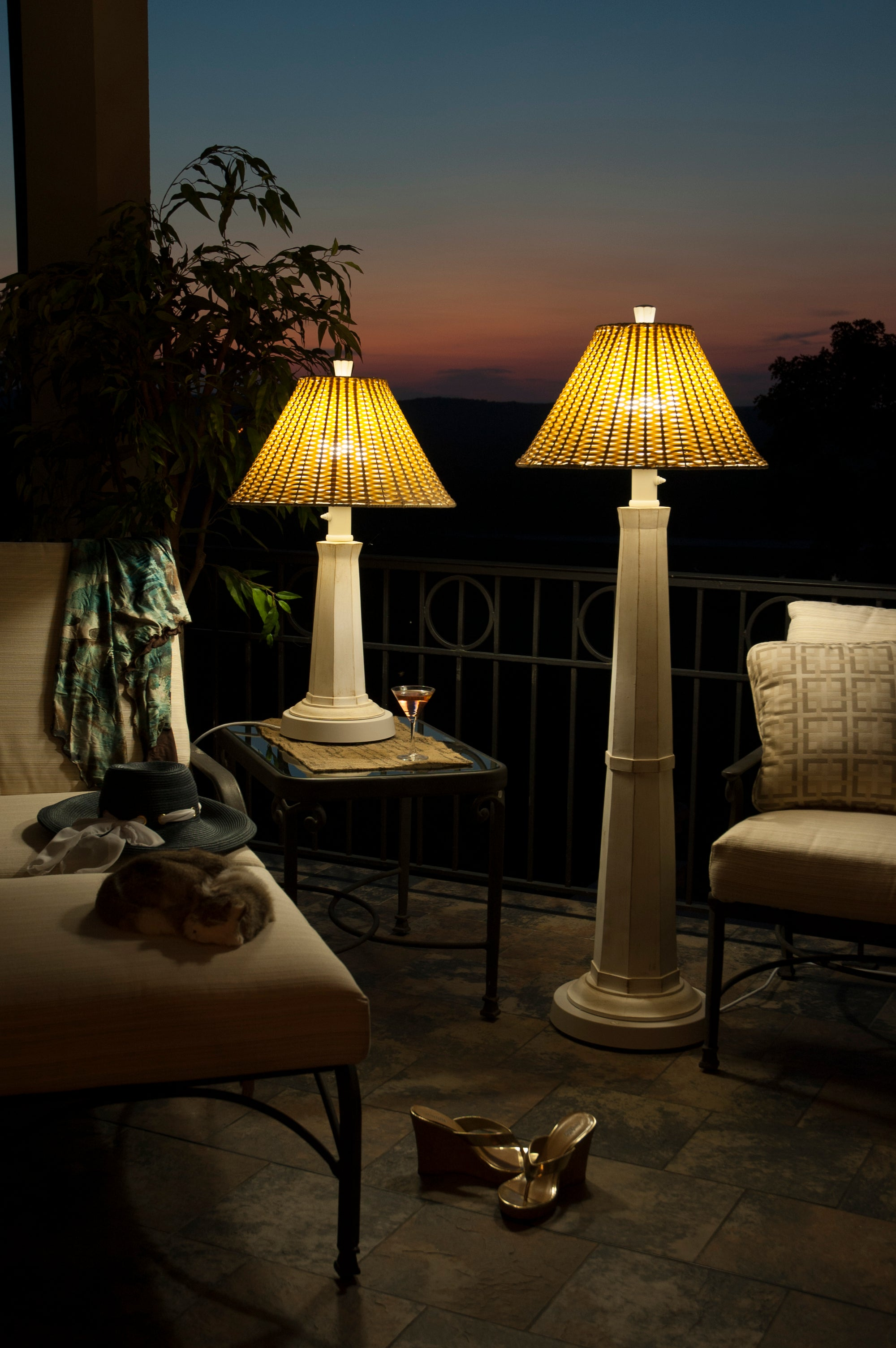 Nantucket Outdoor Table Lamp 19902 with Stone Wicker Shade