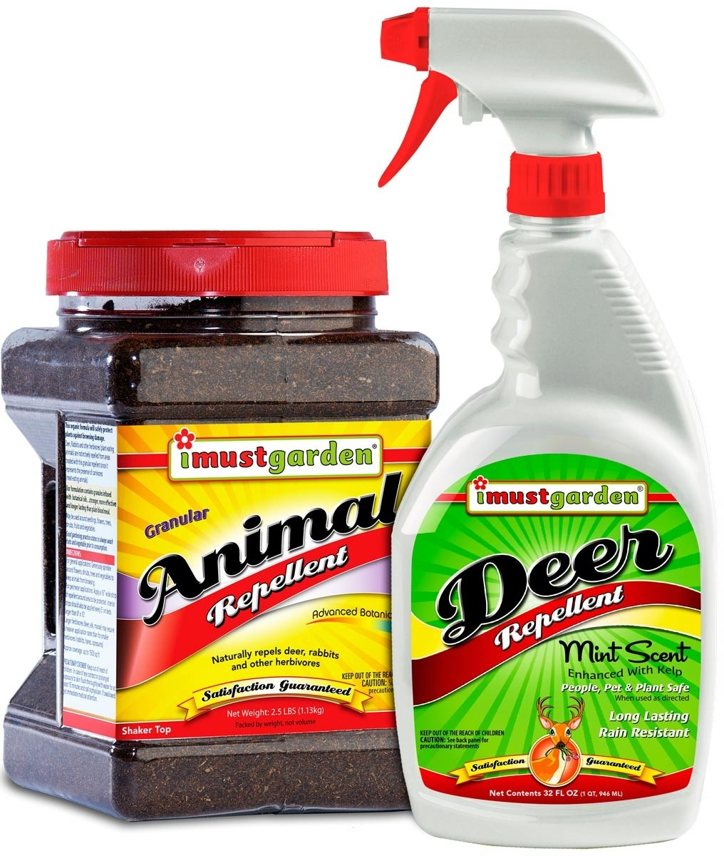 Deer Defense -Save money and defeat deer by bundling 2 of our most popular repellents: - 32oz Ready-to-Use Trigger Spray Deer Repellent, -2.5lb Granular Animal with Shaker Top