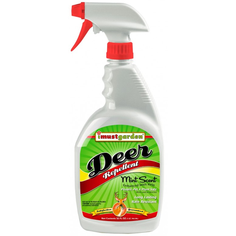 (32 oz) Deer Repellent - Mint Scent - I Must Garden Deer Repellent offers superior year-round protection against deer damage. While totally harmless to deer, our deer repellent will keep deer from eating flowers, plants, shrubs and more. I Must Garden