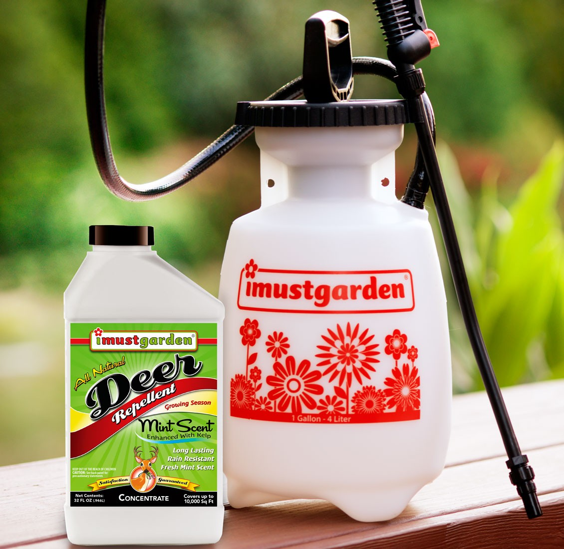 (32 oz) Deer Repellent Mint Scent, 32oz Concentrate + Gallon Sprayer -I Must Garden Deer Repellent offers superior year-round protection against deer damage. While totally harmless to deer, our deer repellent will keep deer from eating flowers, plants,
