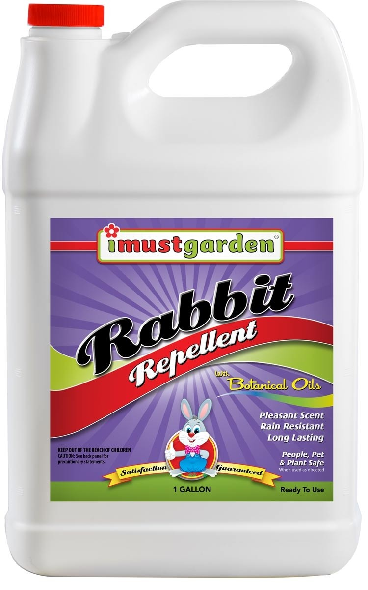 (1 Gallon) Rabbit Repellent 1 Gallon Ready-to-Use, While harmless to rabbits, I Must Garden Rabbit Repellent will keep rabbits away from flowers, plants, trees and more: