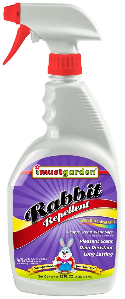 (32 oz) Rabbit Repellent 32oz Ready-to-Use, While harmless to rabbits, I Must Garden Rabbit Repellent will keep rabbits away from flowers, plants, trees and more: