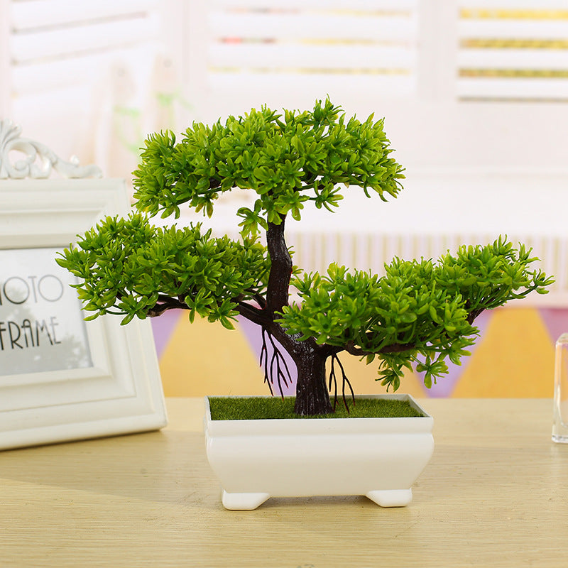 Green Three-Tiered Bonsai in Quaint White Pot -Excellent Gift. Looks Lifelike with Zero Maintenance. Doesn't ever die on you (Artificial plant)