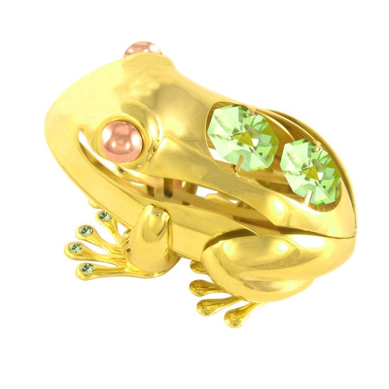 (Set of 2) 24K GOLD PLATED FROG ON STAND W/SWAROVSKI ELEMENT CRYSTAL