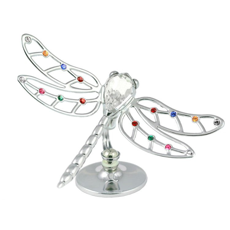 (Set of 2) CHROME PLATED DRAGONFLY ON STAND W/ SWAROVSKI ELEMENT CRYSTAL (MIX COLOR)