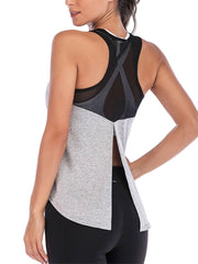 Active Alie Excel Tank Top - Gray, Untied Back View
