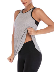 Active Alie Excel Tank Top - Gray, Front View