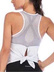 Active Alie Excel Tank Top - White, Tied Back View