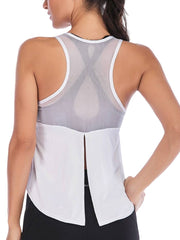 Active Alie Excel Tank Top - White, Untied Back View