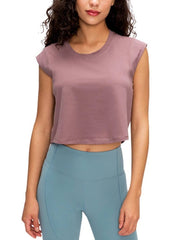 Active Alie Flex Crop Top - Berry, Front View