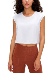 Active Alie Flex Crop Top - White, Front View