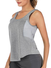 Active Alie Motion Tank Top - Gray, Side View