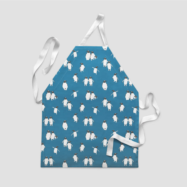 children's apron penguin atlantic blue