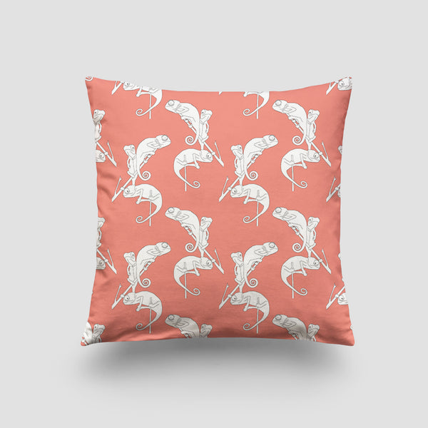 large cushion chameleon jungle pink