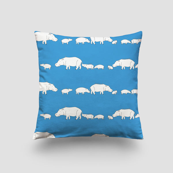 large cushion hippo blue lagoon